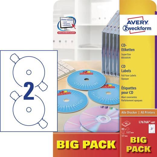 CD-Etiketten Avery-Zweckform L7676A-40P L7676A-40P Tinte, Laser Etiketten-Ø 117 mm 80 St. Weiß