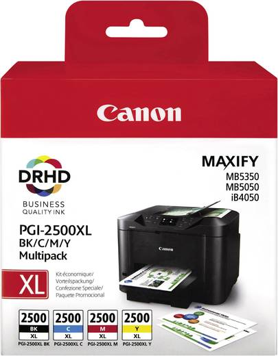 Canon Tinte PGI-2500 XL BKCMY Original Kombi-Pack Schwarz, Cyan, Magenta, Gelb 9254B004