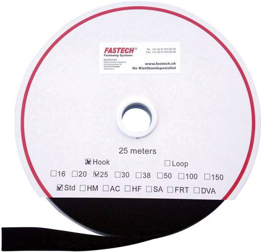 Klettband zum Aufnähen Haftteil (L x B) 25000 mm x 25 mm Schwarz Fastech T0102599990125 25 m