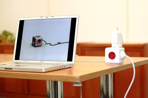 Segula Steckdosenwürfel Steckdose Powercube 3 m rot Weiß, Rot H05VV-F 3G 1,5 mm²