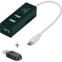USB 2.0 hub s 3 portmi so zabudovanou čítačkou SD kariet, s funkciou OTG Renkforce RF-3830937, čierna