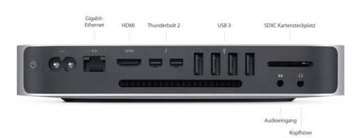 Apple Mac mini (2014) Intel Core i5 2 x 2.6 GHz 8 GB 1024 GB Intel Iris MacOS® X Yosemite