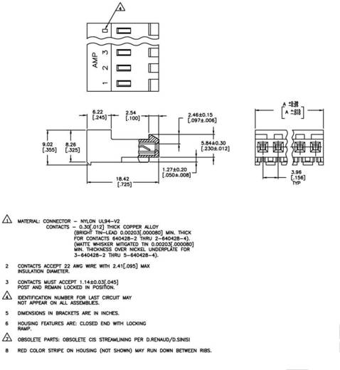 TE Connectivity Buchsenleiste (Standard) MTA-156 Polzahl Gesamt 4 3-640428-4 1 St.