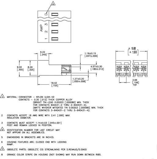 TE Connectivity Buchsenleiste (Standard) MTA-156 Polzahl Gesamt 4 3-640599-4 1 St.