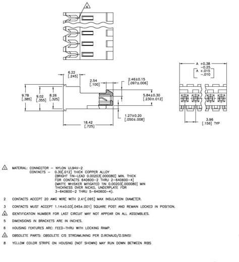 TE Connectivity 3-640600-4 Buchsenleiste (Standard) MTA-156 Polzahl Gesamt 4 1 St.