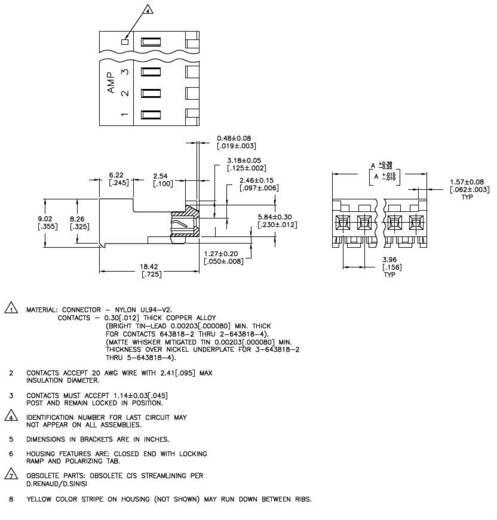Buchsenleiste (Standard) MTA-156 Polzahl Gesamt 4 TE Connectivity 3-643818-4 1 St.