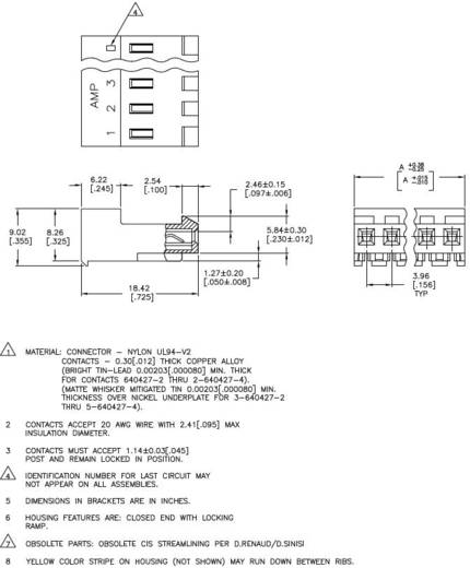 Buchsenleiste (Standard) MTA-156 Polzahl Gesamt 4 TE Connectivity 3-640427-4 1 St.