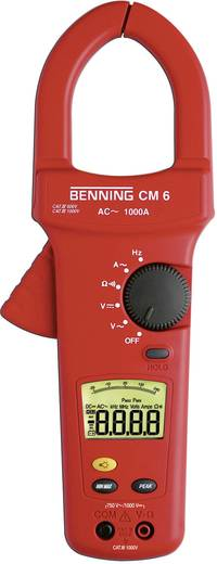 Stromzange, Hand-Multimeter digital Benning CM 6 Kalibriert nach: Werksstandard (ohne Zertifikat) CAT IV 600 V Anzeige