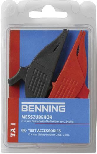 Sicherheits-Abgreifklemmen-Set Steckanschluss 4 mm CAT III 1000 V Rot, Schwarz Benning TA 1