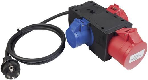 Messadapter [ Schutzkontakt-Stecker - CEE-Cara-Kupplung, CEE-Kupplung] Benning 3-fach CEE Messadapter Rot, Blau