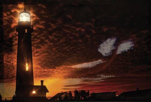 LED-Bild Leuchtturm LED Kalt-Weiß, Amber Heitronic Leuchtturm 34038 Bunt