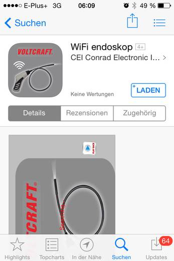 Endoskop VOLTCRAFT BS-20 WIFI Sonden-Ø: 8 mm Sonden-Länge: 85 cm LED-Beleuchtung, Fokussierung, Bild-Funktion, Video-Fun