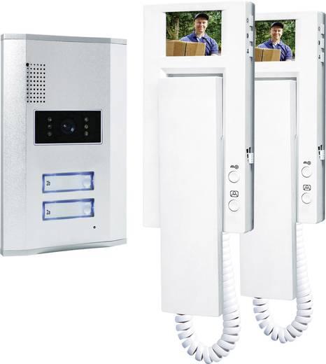 Video-Türsprechanlage Kabelgebunden Komplett-Set Smartwares VD62 SW 2 Familienhaus Silber, Weiß