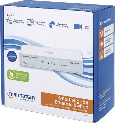 Netzwerk Switch RJ45 Manhattan 560702 5 Port 1 GBit/s