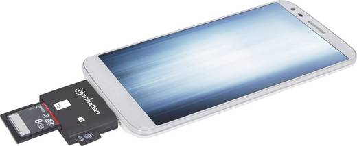 USB 2.0 Adapter [1x USB 2.0 Stecker Micro-B - 1x SD-Karten-Slot] Schwarz mit OTG-Funktion Manhattan