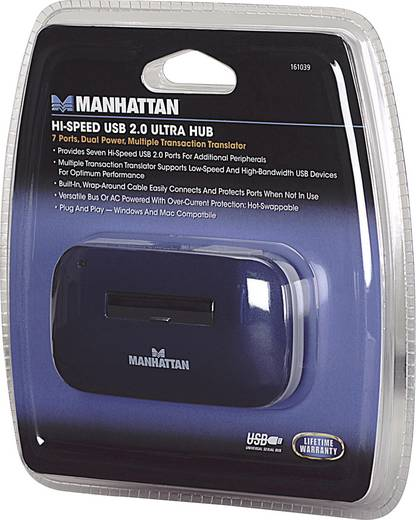 7 Port USB 2.0-Hub Manhattan Blau