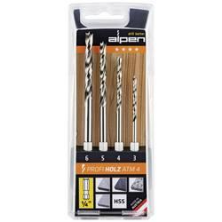 Sada špirálových vrtákov do dreva Alpen 603002100, 3 mm, 4 mm, 5 mm, 6 mm, HSS, 1 sada