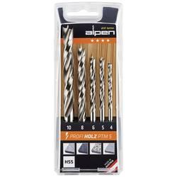 Sada špirálových vrtákov do dreva Alpen 600114100, 4 mm, 5 mm, 6 mm, 8 mm, 10 mm, HSS, 1 sada