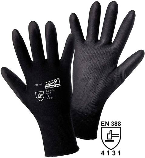 worky 1151 Feinstrickhandschuh MICRO black 100% Nylon mit PU-Beschichtung Größe (Handschuhe): 9, L
