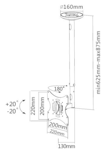 """TV-Deckenhalterung 25,4 cm (10"""") - 101,6 cm (40"""") Neigbar+Schwenkbar NewStar Products FPMA-C060BLACK"""