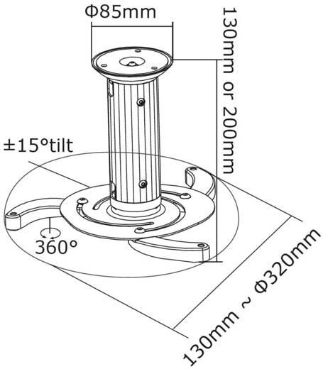Beamer-Deckenhalterung Neigbar, Drehbar Boden-/Deckenabstand (max.): 15 cm NewStar BEAMER-C80 Silber