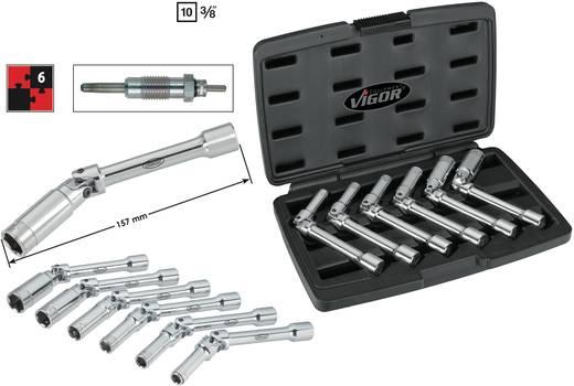 "Außen-Sechskant Gelenk-Steckschlüsseleinsatz-Set 6teilig 3/8"" (10 mm) Produktabmessung, Länge 157 mm Vigor V2737"