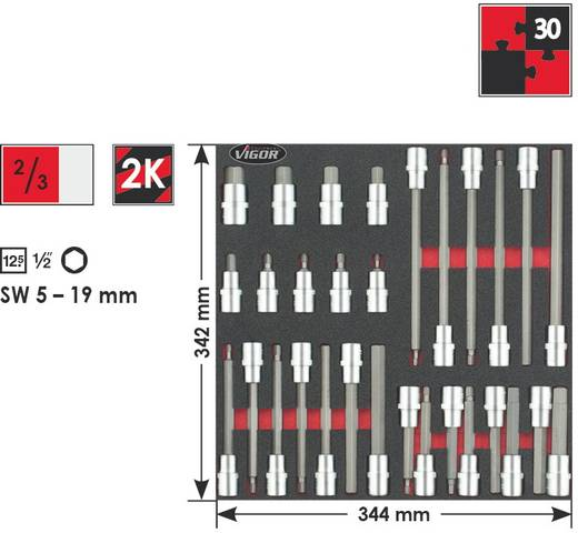 "Innen-Sechskant Steckschlüssel-Bit-Einsatz-Set 30teilig 1/2"" (12.5 mm) Vigor V2022"