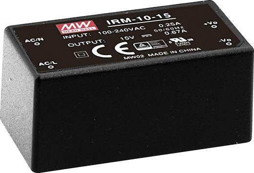 AC/DC-Printnetzteil Mean Well IRM-10-15 15 V/DC 0.67 A 10 W