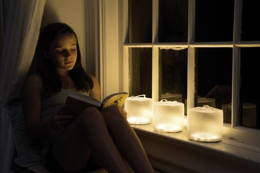 Solar-Tischlampe LED Warm-Weiß Transparent Aufblasbar