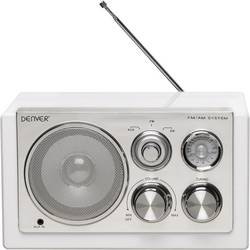 FM stolní rádio Denver TR-61, AUX, SV, FM, bílá
