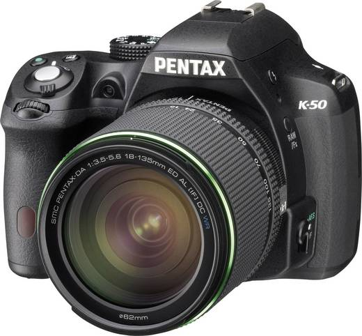 Digitale Spiegelreflexkamera Pentax K-50 18-135 mm WR 16 Mio. Pixel Schwarz Full HD Video, Spritzwassergeschützt, Staubg