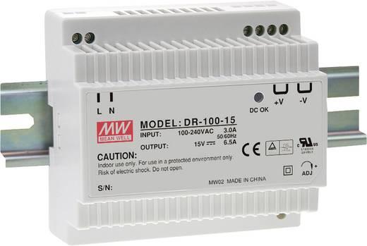 Hutschienen-Netzteil (DIN-Rail) Mean Well DR-100-15 15 V/DC 6.5 A 97 W 1 x