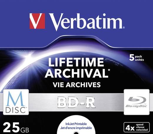 M-DISC Blu-ray Rohling 25 GB Verbatim 43823 5 St. Jewelcase Bedruckbar