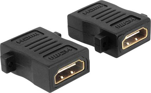 HDMI Adapter [1x HDMI-Buchse - 1x HDMI-Buchse] Schwarz schraubbar, vergoldete Steckkontakte Delock