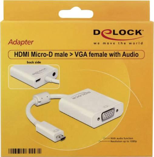 HDMI / VGA / Klinke Adapter [1x HDMI-Stecker D Micro - 1x VGA-Buchse, Klinkenbuchse 3.5 mm] Weiß mit Ferritkern Delock