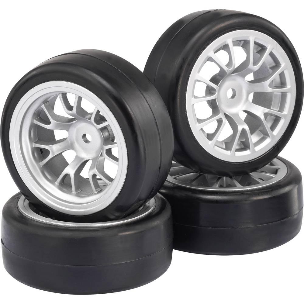 roues compl tes reely 1 10 voiture de tourisme slick 7 rayons argent 4 pc s. Black Bedroom Furniture Sets. Home Design Ideas