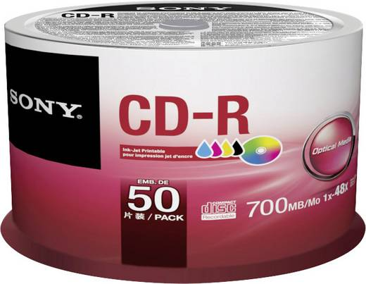 CD-R Rohling 700 MB Sony 50CDQ80PP 50 St. Spindel Bedruckbar