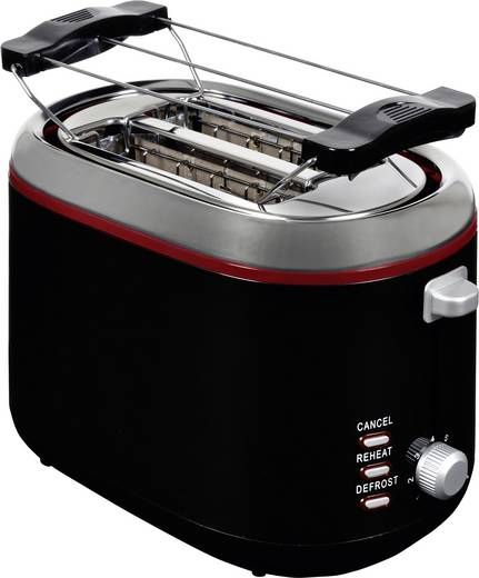 Toaster mit Brötchenaufsatz, mit manueller Temperatureinstellung TKG Team Kalorik TKG TO 1020 BR Rot/Schwarz