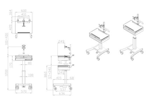 Notebook-Ständer NewStar Products MED-M150 neigbar, höhenverstellbar
