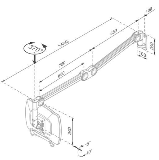 """Monitor-Wandhalterung für den medizinischen Arbeitsbereich 25,4 cm (10"""") - 68,6 cm (27"""") Neigbar+Schwenkbar NewStar Prod"""