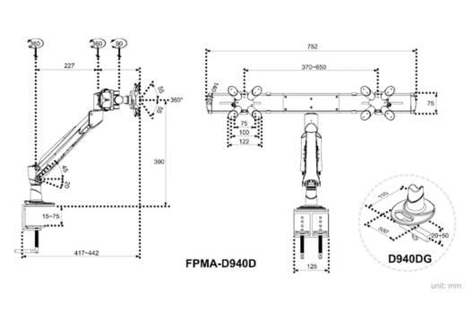 """NewStar Products FPMA-D940D 2fach Monitor-Tischhalterung 25,4 cm (10"""") - 61,0 cm (24"""") Neigbar+Schwenkbar, Rotierbar"""