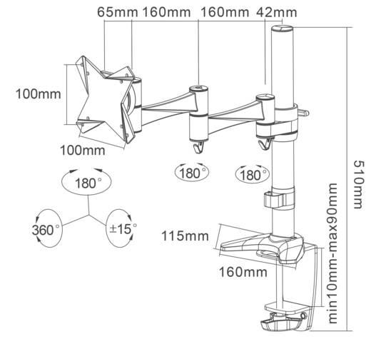 """Monitor-Tischhalterung 25,4 cm (10"""") - 76,2 cm (30"""") Neigbar+Schwenkbar, Rotierbar NewStar FPMA-D1330SILVER Höhenverstel"""