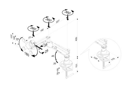 """Monitor-Tischhalterung 25,4 cm (10"""") - 94,0 cm (37"""") Neigbar+Schwenkbar, Rotierbar NewStar Products FPMA-D940HC"""