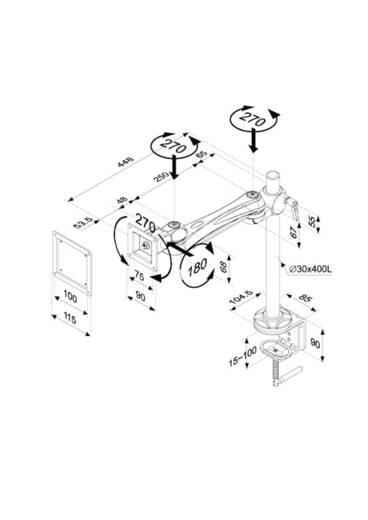 """Monitor-Tischhalterung 25,4 cm (10"""") - 76,2 cm (30"""") Neigbar+Schwenkbar, Rotierbar NewStar Products FPMA-D920"""