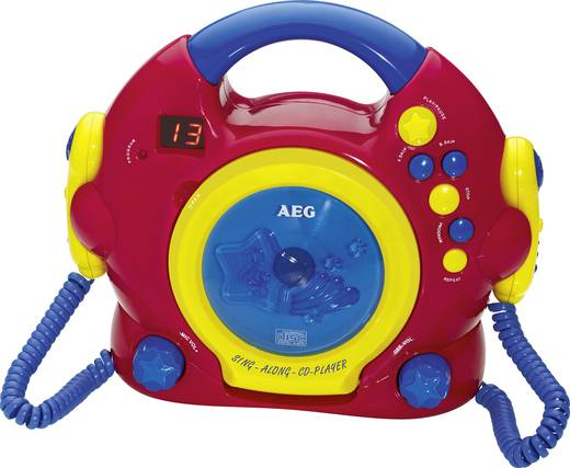 Kinder CD-Player AEG 400624 CD Inkl. Karaoke-Funktion, Inkl. Mikrofon Rot, Bunt