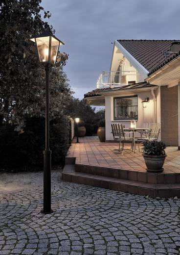 Außenstandleuchte Energiesparlampe, LED E27 100 W Konstsmide Benu 437-750 Schwarz