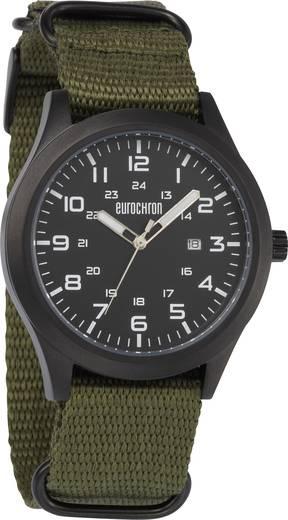 Quarz Armbanduhr EQAU 2701 (Ø x H) 43 mm x 11 mm Anthrazit Gehäusematerial=Edelstahl Material (Armband)=Leinen Eurochron