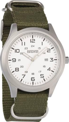 Eurochron Quarz Armbanduhr EQAU 2700 (Ø x H) 43 mm x 11 mm Edelstahl Gehäusematerial=Edelstahl Material (Armband)=Leinen