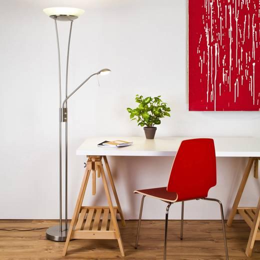 LED-Deckenfluter mit Leselampe 18 W Warm-Weiß Brilliant Finn G93035/13 Eisen, Weiß