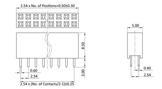 Buchsenleiste (Standard) Anzahl Reihen: 2 Polzahl je Reihe: 10 econ connect BL10/2W8 1 St.